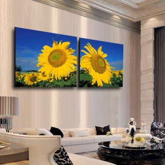 2 Piece Big Sunflower Modern Home Wall Decor Canvas Picture Art HDPrint Painting On Canvas wedding decor Artwork(No frame)