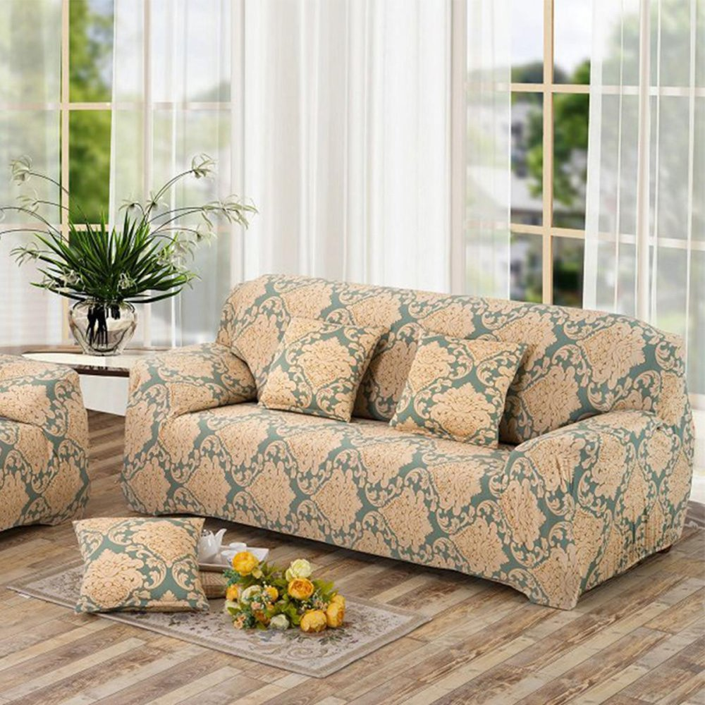 2 Seater Flower Fit Stretch Sofa Slipcover Couch Damask Fabric  ~ Stain Protection For Fabric Sofa