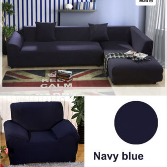 2 Seater L Shape Loveseat Chair Stretch Sofa Couch Protect CoverSlipcover Navy Blue-(Only Sofa Cover)