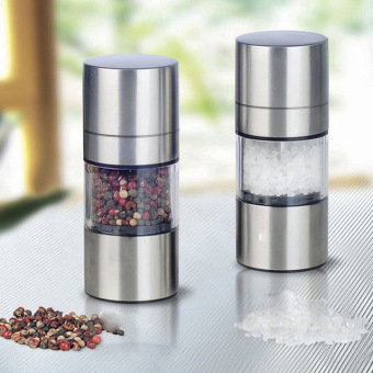 2 Stainless Steel Manual Salt Pepper Mill Grinder Seasoning HomeKitchen Tools Grinding for Cooking Meat Restaurants