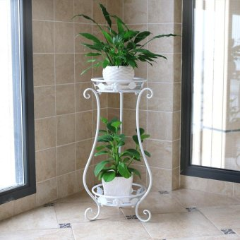 2-Tier Metal Balcony Fower Pots Shelf Garden Flower Stands HolderPlant Flower Pergolas Metal Iron Flower Shelf (black+white) - intl