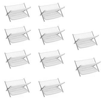 2-Tier Multifunctional Folding Kitchen Dish Rack Set of 10