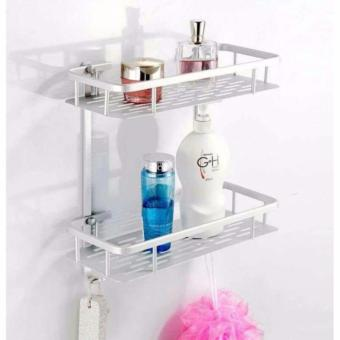 2 Tier Shower Bathroom Corner Shelves Storage Organizer