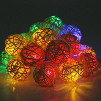20 Bulbs LED String Sepak Takraw Balls Christmas Lights DecorationFor Coffee Home Wedding Curtain(Colorful) - intl Price Philippines