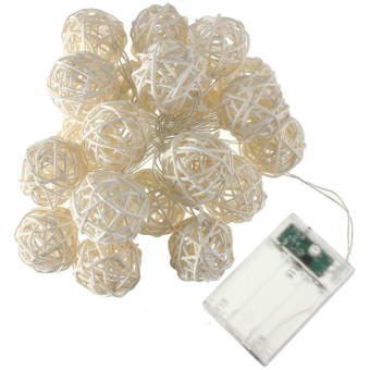 20 LED Rattan Ball String Fairy Lights For Christmas Xmas Wedding Party Decor Red
