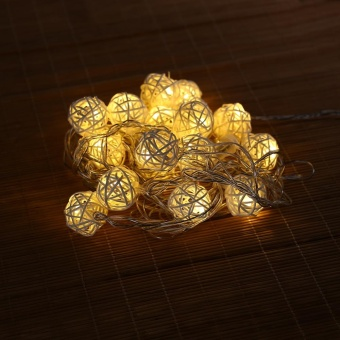 20 LED Rattan Ball String Light Lamp Christmas Wedding Party Fairy Decor - intl