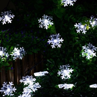 20 LED Snow Flake Flowers Solar String Fairy Lights WaterproofOutdoor Solar String Lights Decorated Garden Christmas - intl