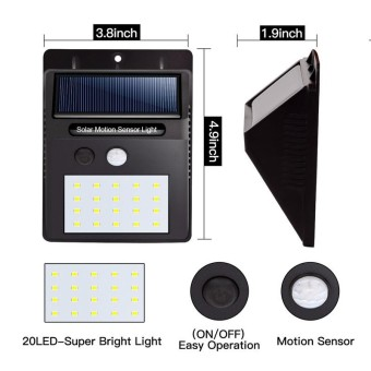 Led solar lights outdoor waterproof solar powered motion sensor 20 led solar lights outdoor waterproof solar powered motion sensor light wireless security lights outside wall lamp aloadofball Images
