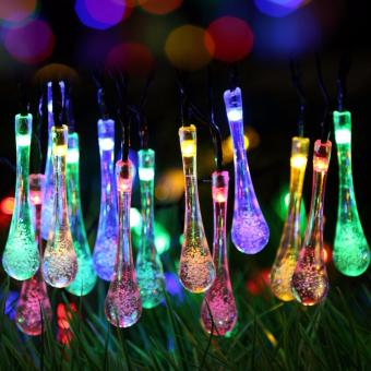 20 LED Water Drop Solar Powered String Lights LED Fairy Light for Wedding Christmas Party Festival Outdoor Indoor Decoration - intl