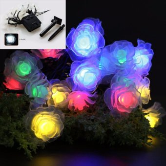 20 Leds Solar Powered Plastic Rose Flower String Lights Lamp for Christmas Party Wedding Garden Outdoor Fairy Decoration (Multi-color) - intl