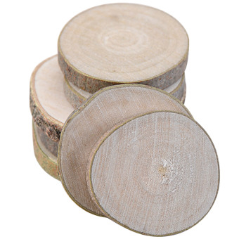 20 PCS Mini Assorted Size Natural Color Tree Bark Wood Log Slices Round Disc Slice for Arts Crafts Home Decoration