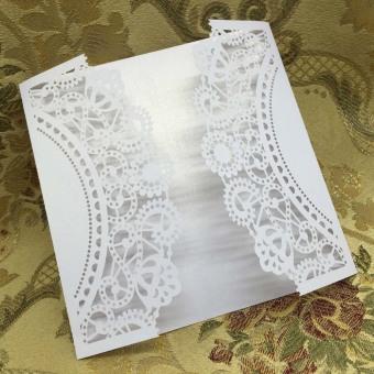 20 pcs White Laser Cut Wedding Celebration Birthday Party Invitation Card - 4