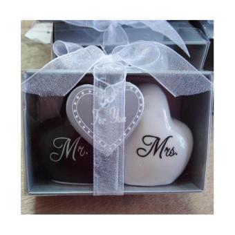 20 sets Love Heart Mr & Mrs Ceramic Salt And Pepper Shaker Wedding Souvenirs Party favor Gift For Guest Wholesale - 4