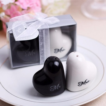 20 sets Love Heart Mr & Mrs Ceramic Salt And Pepper Shaker Wedding Souvenirs Party favor Gift For Guest Wholesale - 2