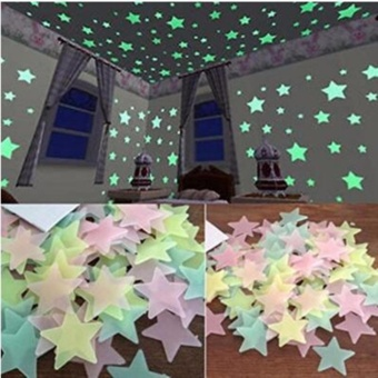 200 pcs Fluorescent Glow in the Dark Star Wall Stickers Decal for Kid's Room Bedroom Living Rooms - intl