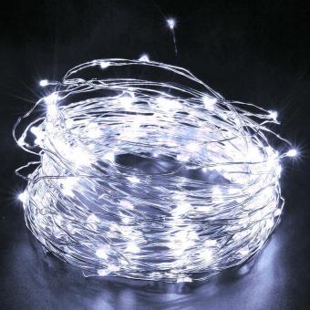 200LEDS Solar String Lights Starry Light Outdoor Christmas FairyLights Warm White Copper Wire LED 8 Modes-Flash(1800ma) White - 3