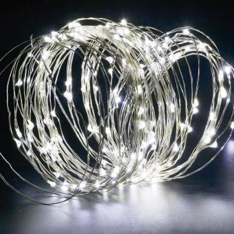 200LEDS Solar String Lights Starry Light Outdoor Christmas FairyLights Warm White Copper Wire LED 8 Modes-Flash(1800ma) White