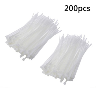 200pcs Self-Locking Network Nylon Plastic Cable Wire Organiser ZipTie Cord Strap Cable Zip Trim Wrap Cable Loop Ties For Wires Tidy(White) - 3x100mm - intl - 3