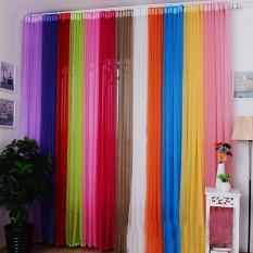 2015 Solid Color 200x100cm Ready Made Sheer Curtain Living Room Window