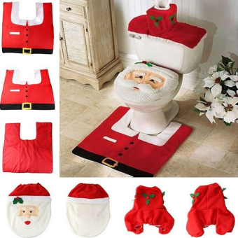 2016 Hot 1Lot Fancy Santa Toilet Seat Cover and Rug Bathroom SetContour Rug Christmas Decorations For Natal Navidad Decoracion