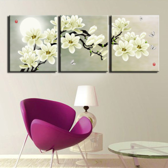 2016 New 3 Piece Print Abstract Painting Canvas Wall Art Modern Distinctive Flower Decoration Picture Black And White Picture(No frame)