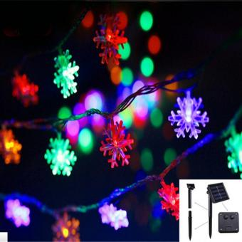 2017 New arrive 20 LEDs 4.8m Snow Flake Flowers Solar Powered String Fairy Lights Waterproof Outdoor Solar String Lights Decorated Garden Festival(Multi-color) - intl