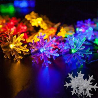 2017 New arrive 20 LEDs 4.8m Snow Flake Flowers Solar Powered String Fairy Lights Waterproof Outdoor Solar String Lights Decorated Garden Festival(Multi-color) - intl - 4