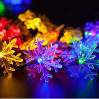 2017 New arrive 20 LEDs 4.8m Snow Flake Flowers Solar Powered String Fairy Lights Waterproof Outdoor Solar String Lights Decorated Garden Festival(Multi-color) - intl - 3
