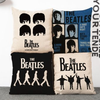 2017 The Beatles Band Vintage Home Decor Cotton Linen CushionPillow Cover - intl