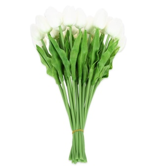20pcs Artificial PU Tulip Flower Bouquet Home Office Party Wedding Decoration (White) - intl