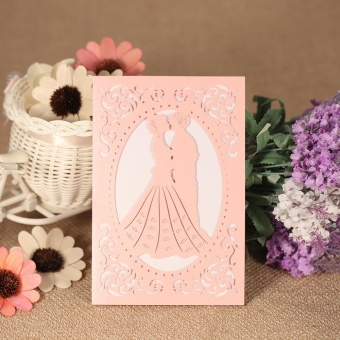 20pcs Invitation Holders + 20pcs Inner Sheets Wedding InvitationCard Set Pearl Paper Laser Cut Bridal Bridegroom Pattern InvitationCards - intl