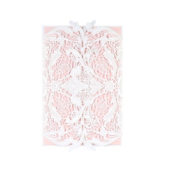20pcs Invitation Holders + 20pcs Inner Sheets Wedding InvitationCard Set Pearl Paper Laser Cut Hollow Floral Pattern InvitationCards - intl