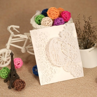 20pcs Romantic Laser Cut Wedding Invitation Card Groom Bride CarvedPattern Wedding Card Hollow Out Wedding Banquet Party Supply(White) - intl