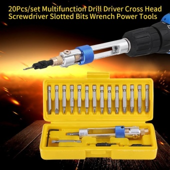 20Pcs /set Multifunction Drill Driver Cross Head Screwdriver Slotted Bits Wrench Power Tools - intl