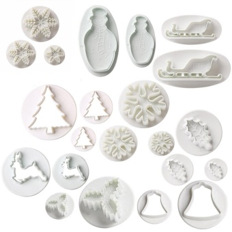 22 pcs/set Merry Christmas Cookie Mold Plastic Sled Tree Snow Leaf Bell Shape Cake Cutters Biscuit Cookie Decorating Mold Set - intl