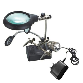 220V 5 LED Helping Hand Solder Iron Stand Holder Magnifier - intl