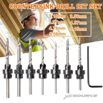 22pcs Set Countersink Drill Bit Stop Collars Hex Key Wood PilotAdjustable