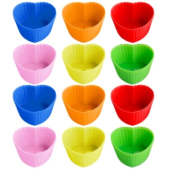 24 PCS Cute Silicone Reusable Baking Cups Non-stick Cookies PuddingCupcakes Muffin Making Mold Bakeware Random Color Heart Style -intl