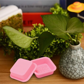 24 PCS HAND MADE Reusable Silicone Soap Mold Pink DIY Square Handmade Soaps Moulds - intl - 3