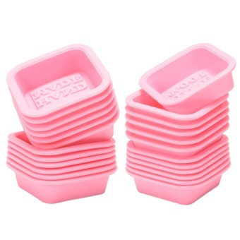24 PCS HAND MADE Reusable Silicone Soap Mold Pink DIY Square Handmade Soaps Moulds - intl