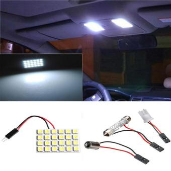 24 SMD 5050 LED T10 BA9S Dome Festoon Car Interior Light Panel Lamp12V - intl