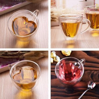 240ml Heart Double Wall Clear Transparent Glass Tea Cup Lover Coffee Mug Gift - 2