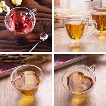 240ml Heart Double Wall Clear Transparent Glass Tea Cup Lover Coffee Mug Gift - 3