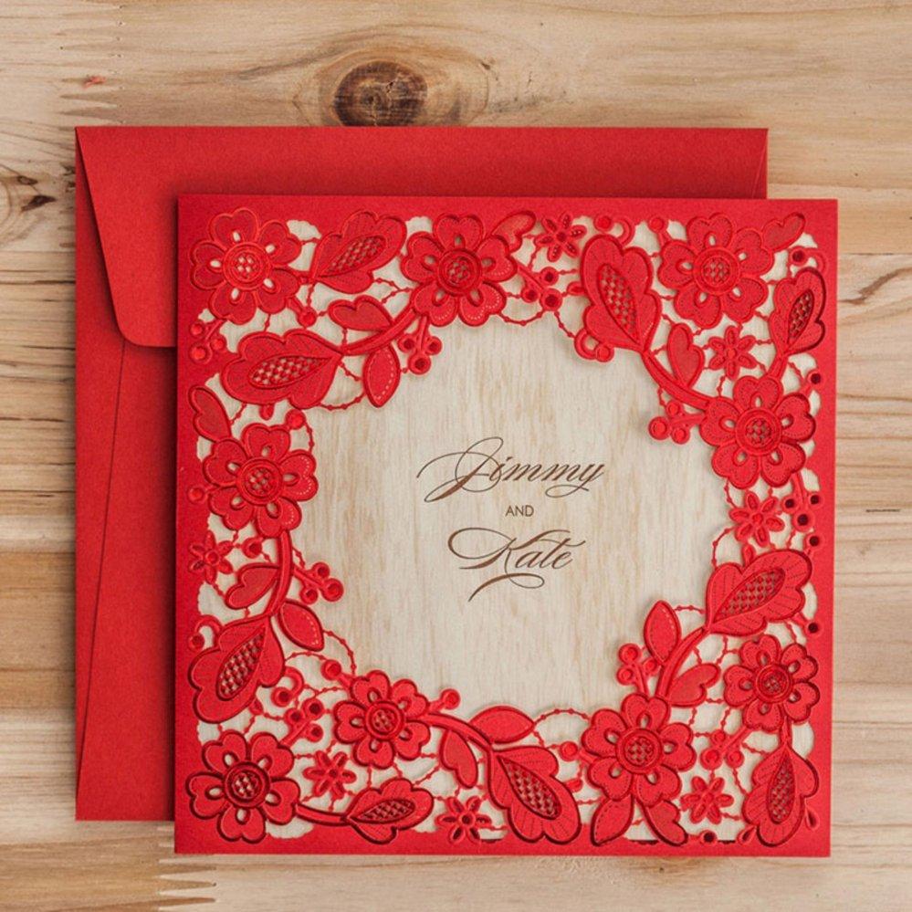 Philippines 24pcs Laser Cut Lace Flower Invitation Cards Elegant