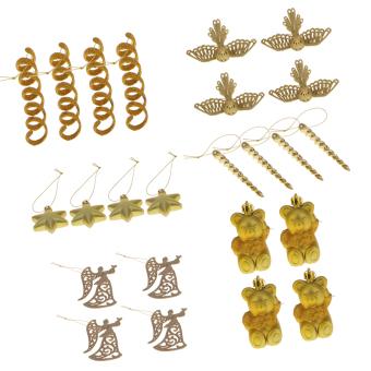 24pcs Mixed Christmas Party Ornaments Xmas Tree Hanging Decor Gold #14 - intl