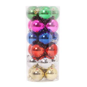 24pcs Mixed Color Christmas Ball Tree Hanging Ornament Decoration