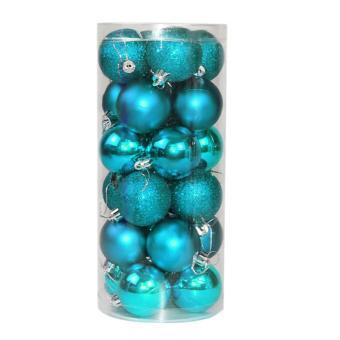 24x Round Christmas Balls Baubles Xmas Tree Decorations Blue