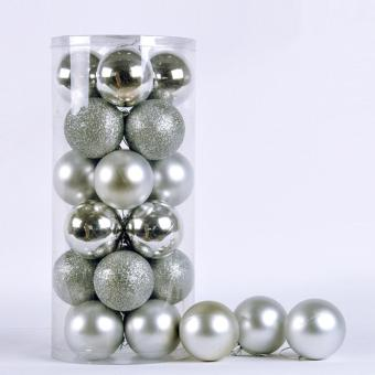 24x Round Christmas Balls Baubles Xmas Tree Decorations Silver - picture 4