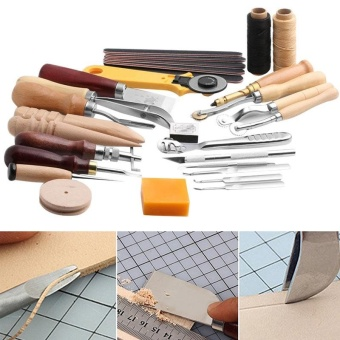 25 Pcs/Set Stitching Carving Working DIY Hand Sewing Saddle Groover Punch Tools Leather Craft Sets - intl