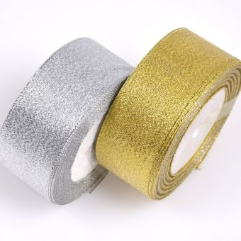 25/50 Yard Christmas Ribbon Red Green Gold Double Sided Silver 20mm - intl - picture 2
